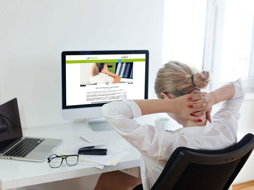 Gezielte go4health Übungen helfen gegen Verspannungen im Nacken.