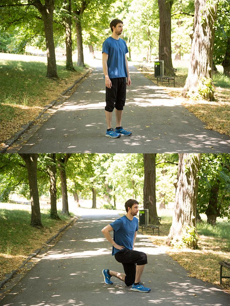 Ausfallschritte im Park.