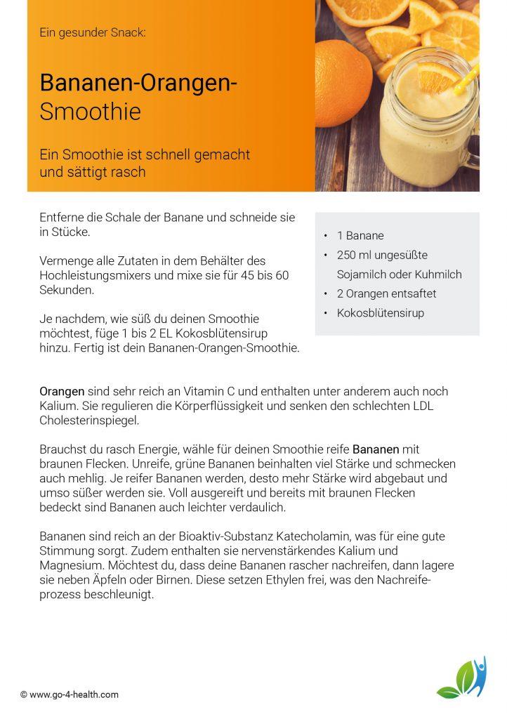 Rezept für ein gesundes Frühstück oder Snack: Bananen-Orangen-Smoothie