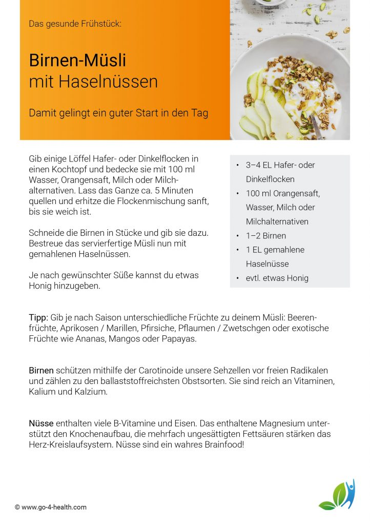 Das go4health Birnenmüsli-Rezept mit Haferflocken und Honig