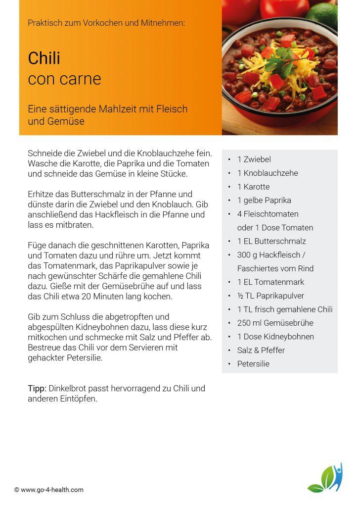 Das go4health Chili con Carne Rezept: mit Knoblauch, Paprika, Karotten und Bohnen