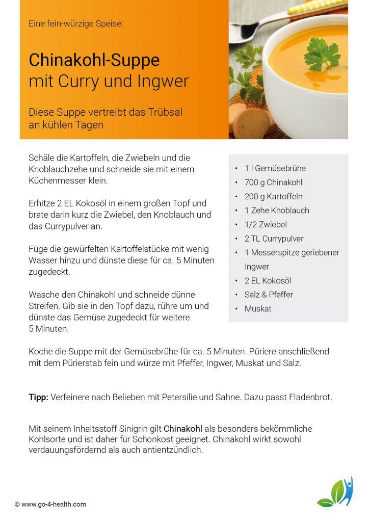Das gesunde go4health Chinakohl Suppe Rezept: mit Kartoffeln, Knoblauch, Curry und Ingwer