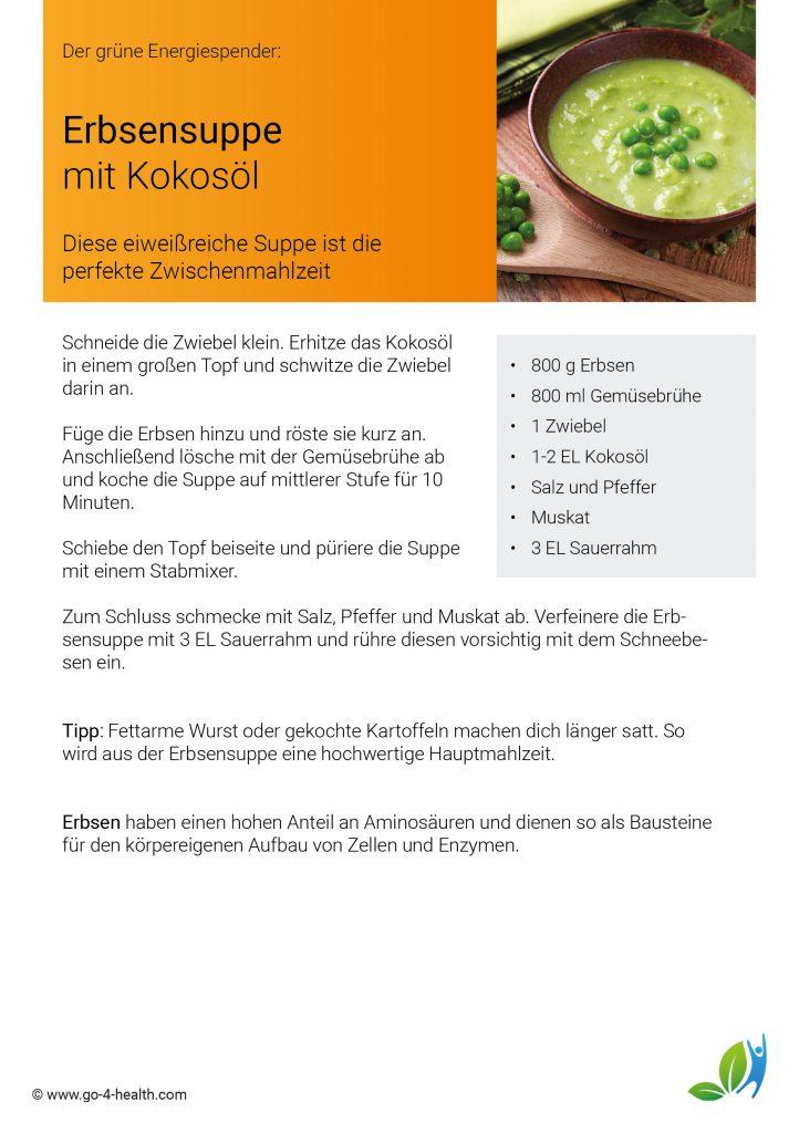 go4health Rezept: vegetarische Erbsensuppe mit Muskat und Sauerrahm