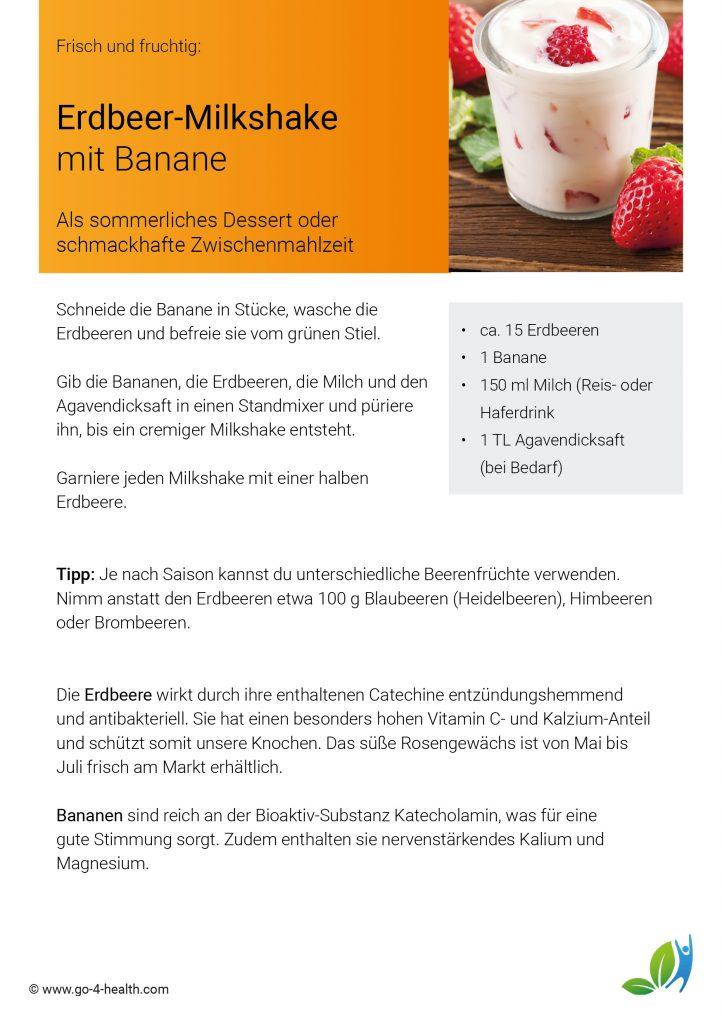 Sommerrezept: Erdbeer-Banane-Milchshake von go4health
