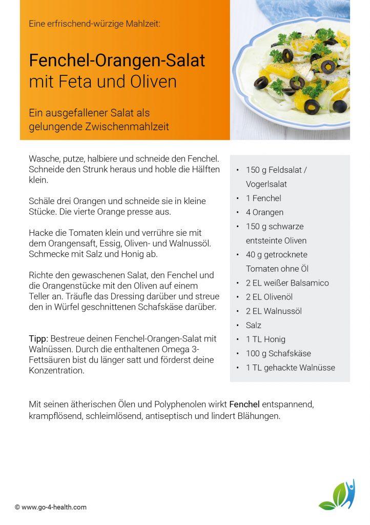 Das go4health Fenchel-Salat-Rezept: mit getrockneten Tomaten, Feldsalat und Orangen