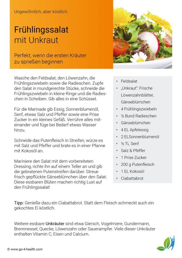Rezept für gesunde Ernährung: Salat mit Unkraut und Putenfleisch