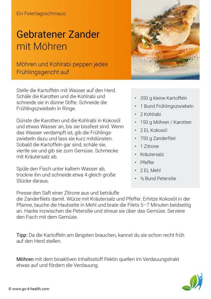 Dein go4health Rezept: Gebratener Zander mit Möhren / Karotten