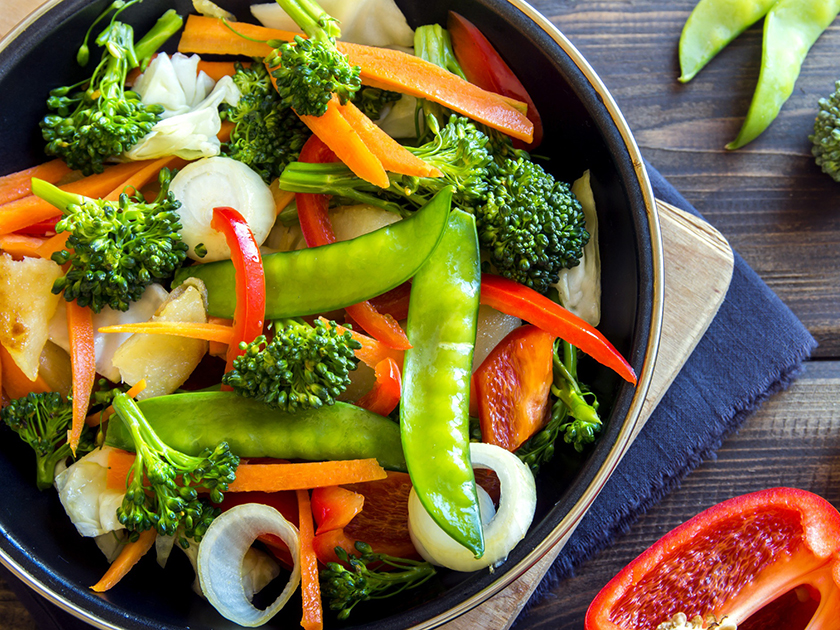 Die go4health Gemüsepfanne liefert Mikronährstoffe wie Vitamin C und Provitamin A.