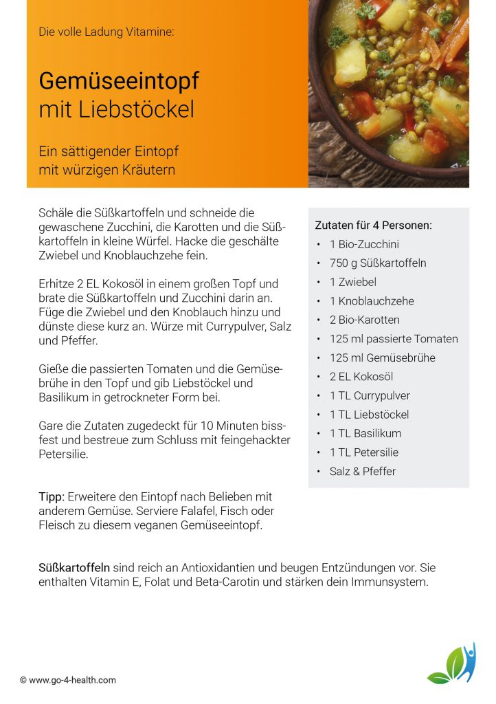 go4health Gemüseeintopf: Rezept mit Zucchini, Süßkartoffeln, Karotten und Liebstöckel
