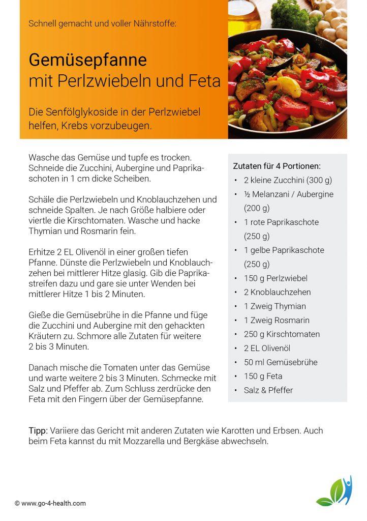 Das go4health Rezept: Vegetarische Gemüsepfanne mit Perlzwiebeln, Paprika, Melanzani / Aubergine, Feta