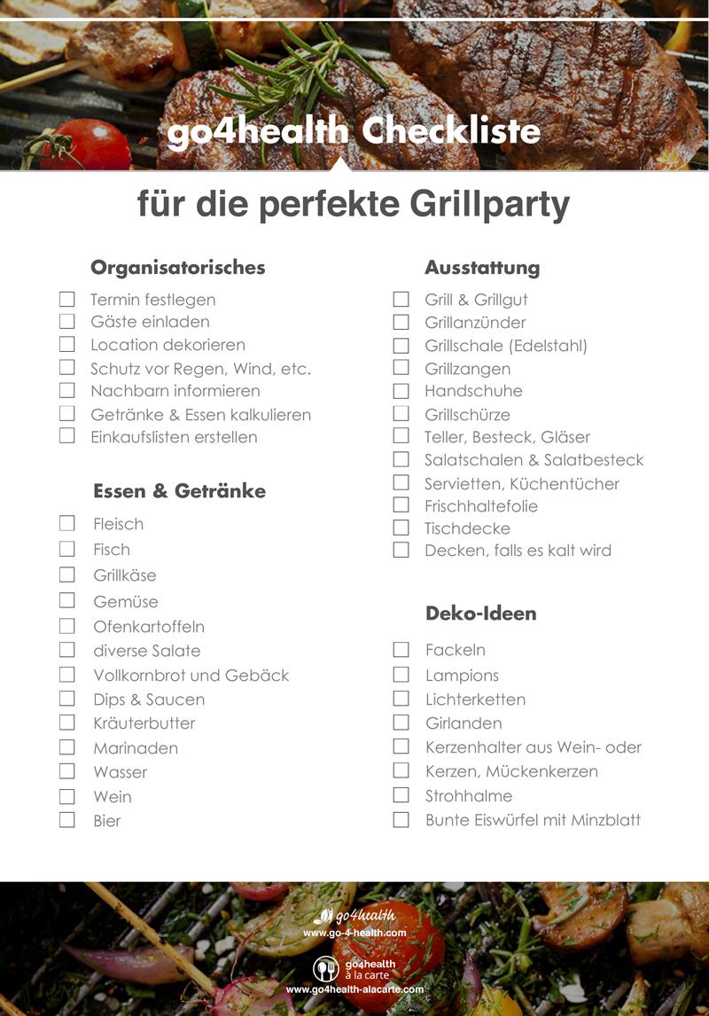 Die go4health Grill-Checkliste für deine Grillparty.