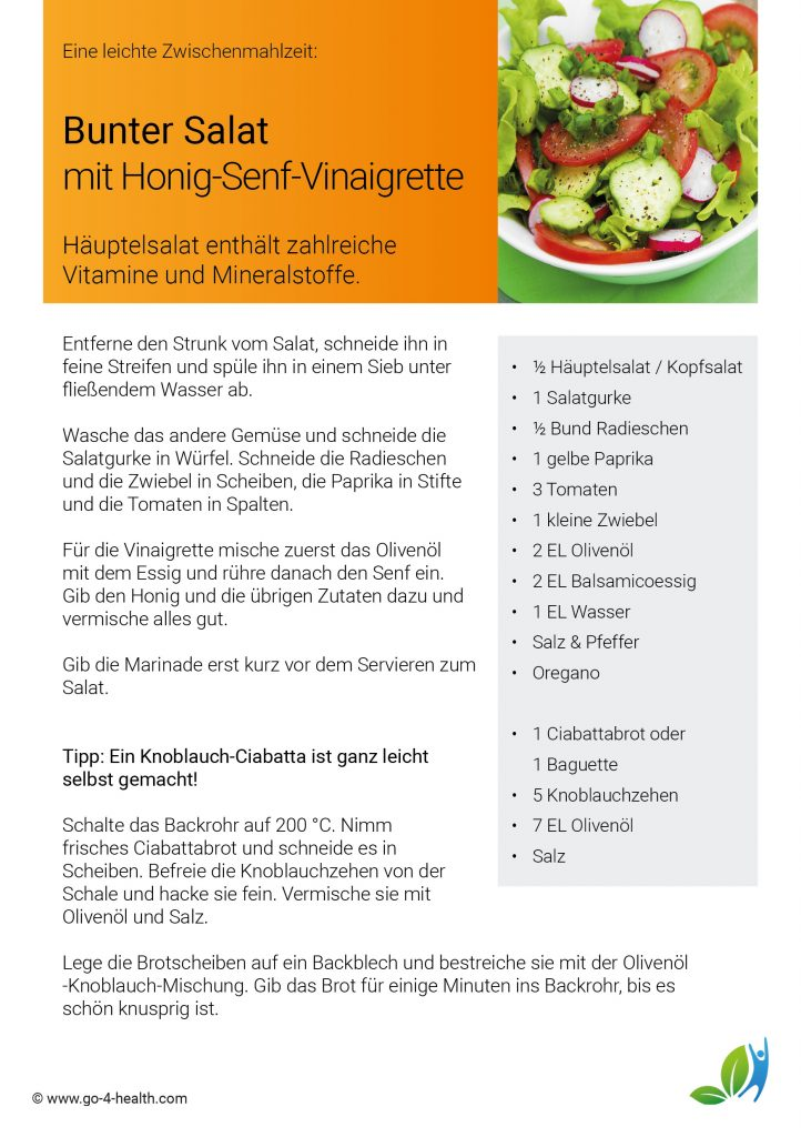 Das go4health Rezept: Häuptelsalat / Kopfsalat mit Honig-Senf-Vinaigrette