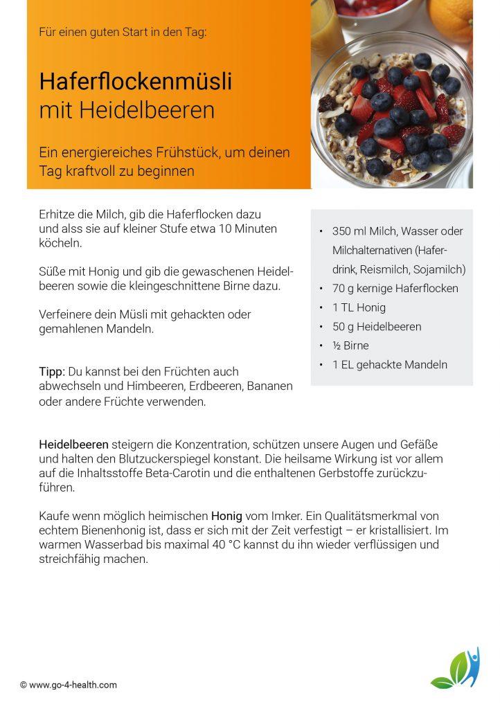 Frühstücksrezept: mit Heidelbeeren / Blaubeeren, Birnen, Mandeln, Haferflocken