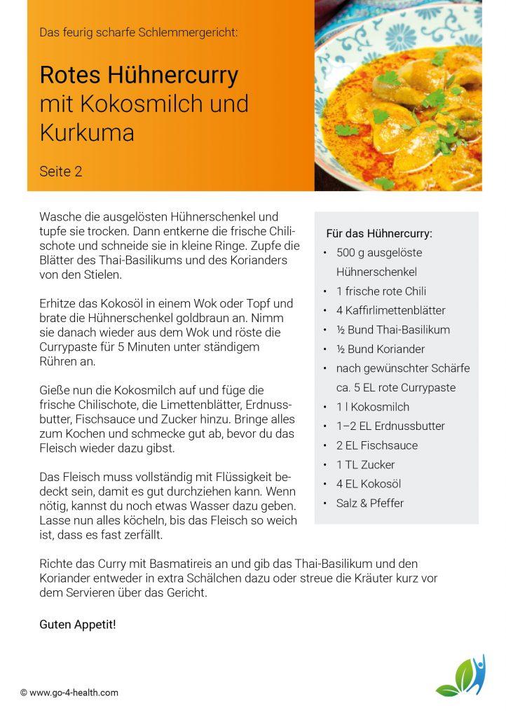 Rezept: Curry mit Huhn / Hendl, Kokosmilch und feurigem Kurkuma