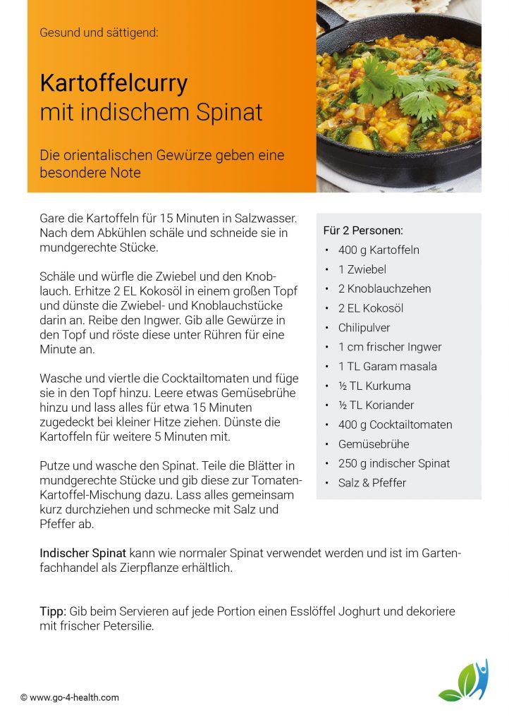 Indischer Spinat / Malabarspinat: ein go4health Curryrezept, mit dem du fit bleibst