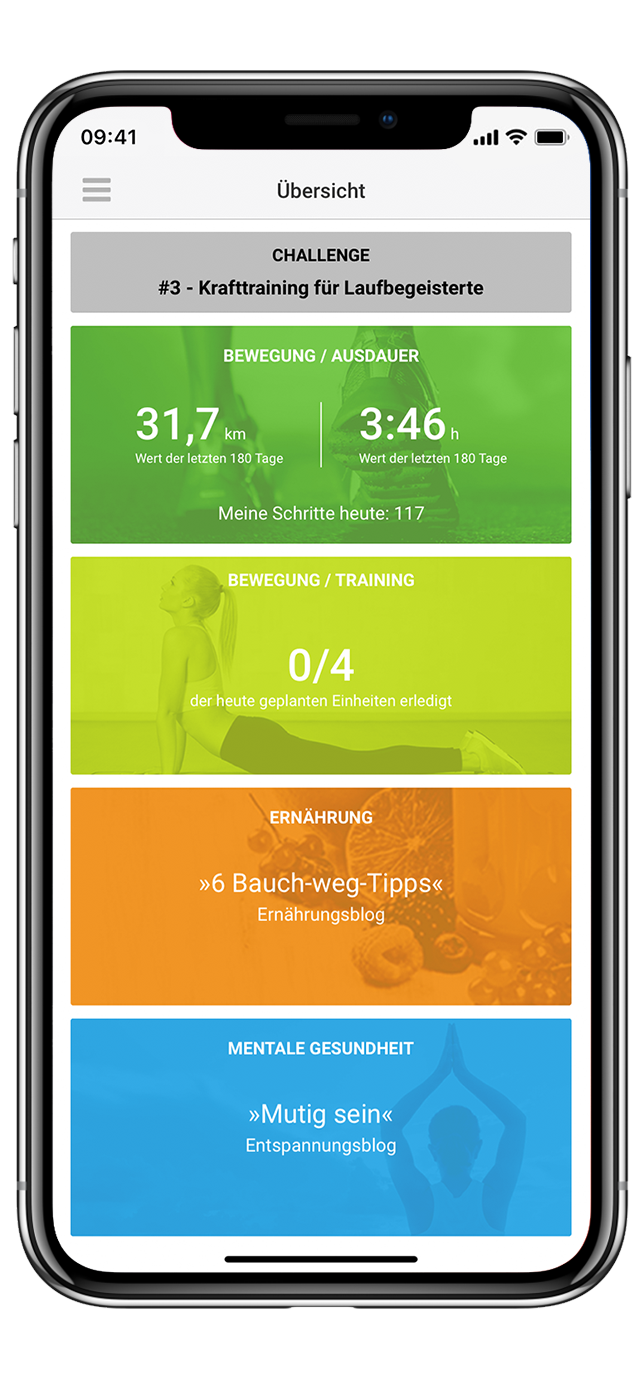 Dashboard go4health App –iPhone