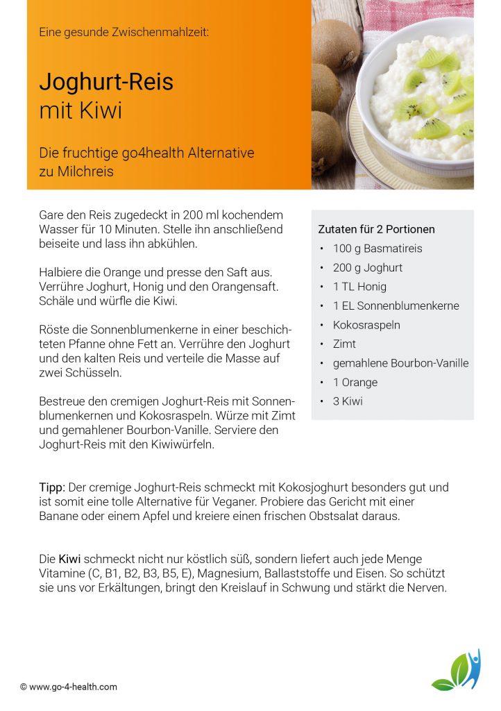 go4health Rezept für deinen Powersnack: Joghurtreis mit Kiwi, Honig, Kokosraspeln und Vanille