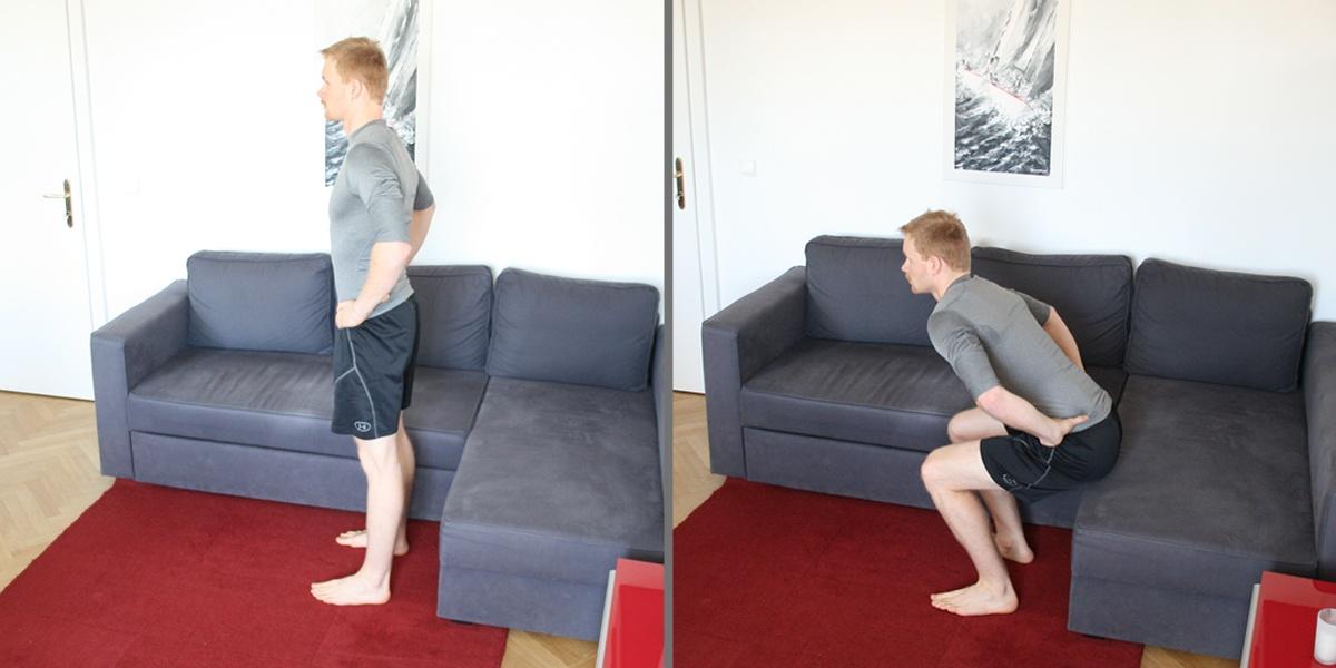 Kniebeugen für dein Wohnzimmer Workout.