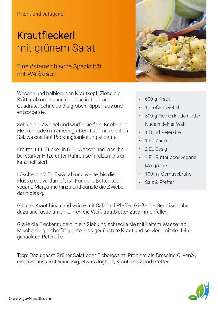 go4health Rezept für Krautfleckerl: Nudeln mit Weißkraut und Petersilie