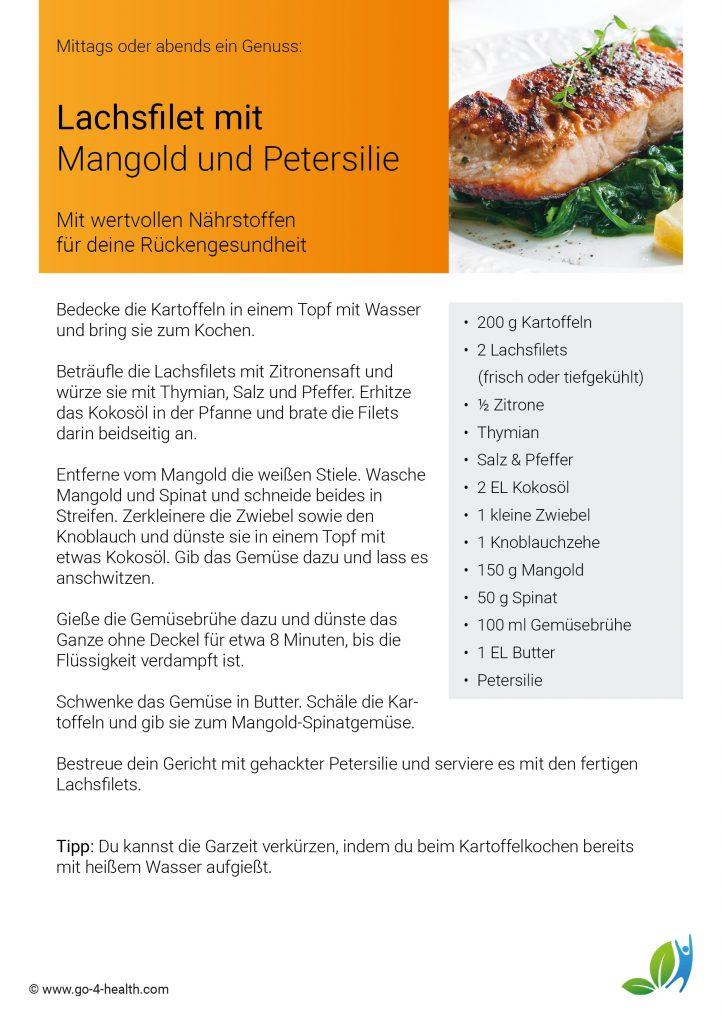 Gesundes Schlemmen: Lachsfilet mit Mangold und Petersilie (Rezept)