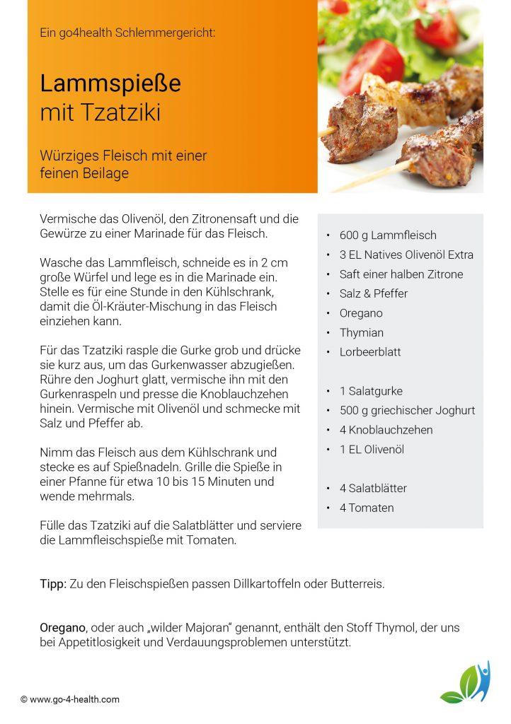 Dein go4health Rezept für Lammspieße mit Tzatziki und Salat