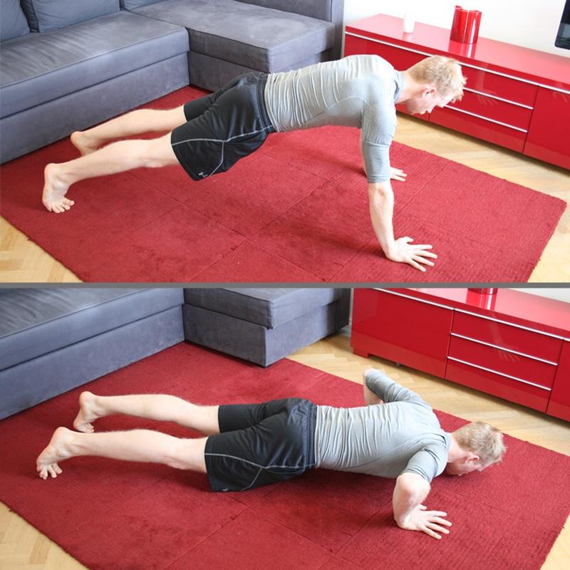 Kräftigende Liegestuetz für dein Wohnzimmerzimmer Workout.