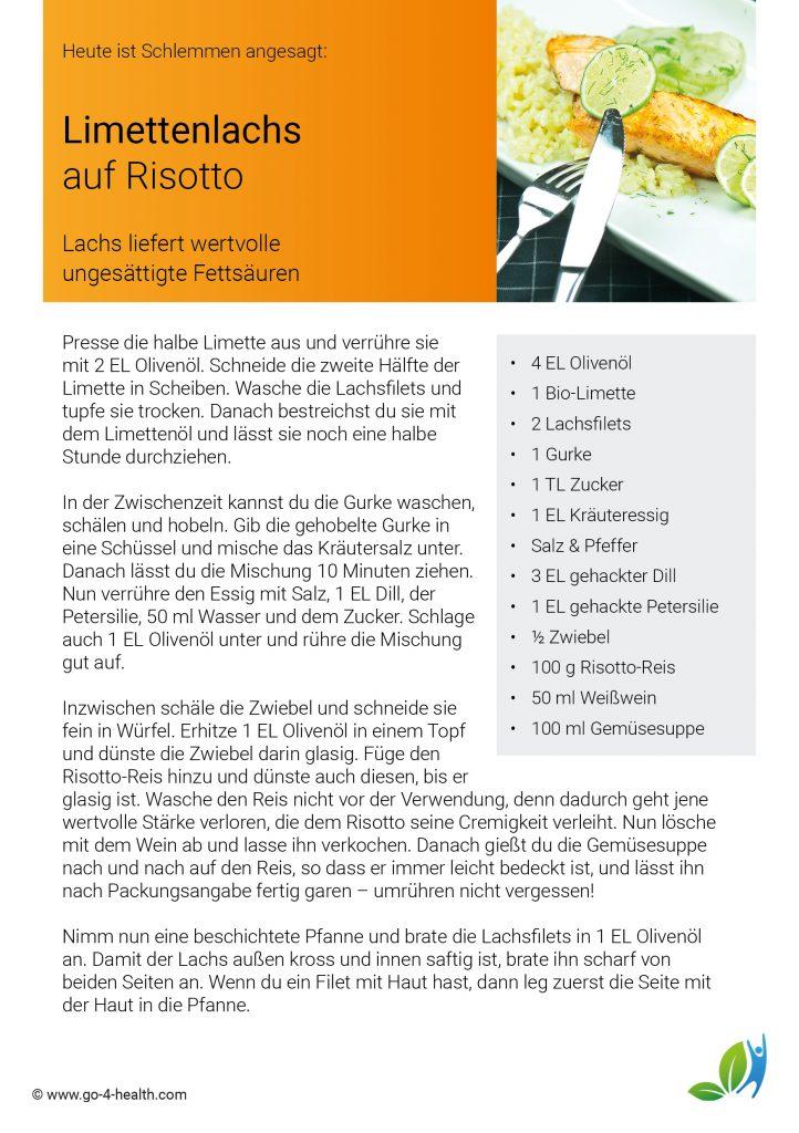 Festtagsrezept: Limettenlachs auf Risotto und Gurkensalat