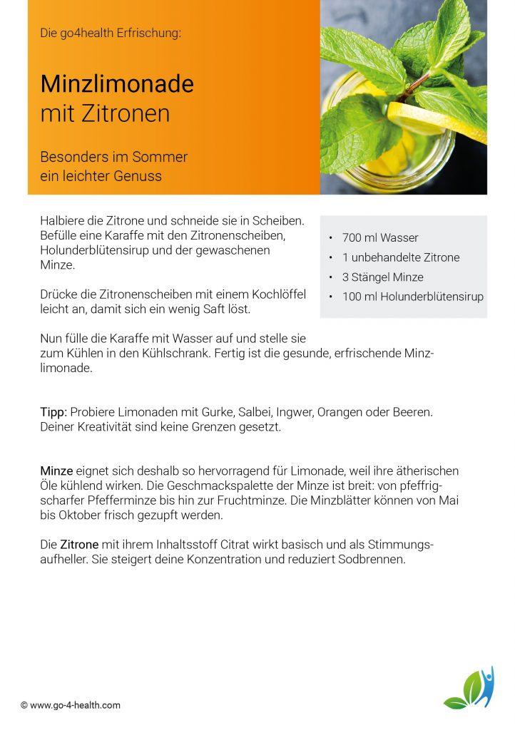 Rezept für die go4health Limonade: mit Zitrone, Minze und Holunderblütensirup