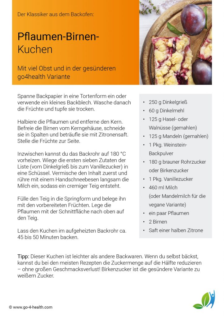 Gesundes Backen: Obstkuchen mit Pflaumen / Zwetschgen und Birnen (Rezept)