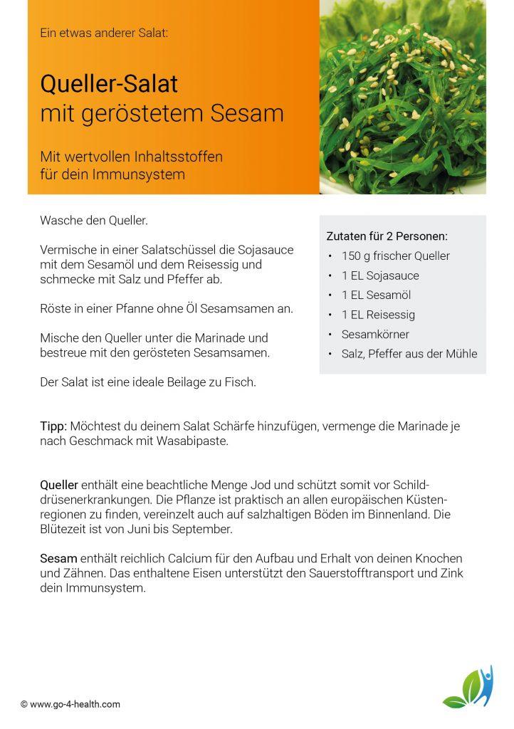 Empfehlung der go4health Ernährungswissenschafter: Quellersalat mit Sesam