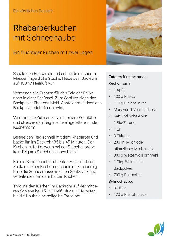 go4health Kuchenrezept: mit Schneehaube, Rhabarber und Vanille