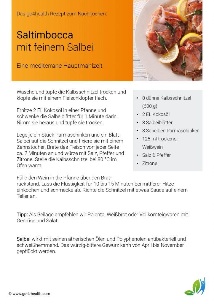 Einfach kochen mit go4health: Saltimbocca mit Salbei und Parmaschinken
