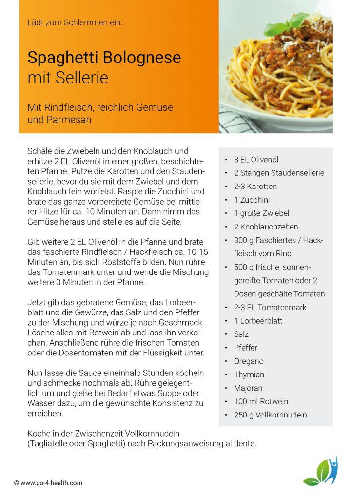 go4health Schlemmerrezept: Pasta Bolognese mit Sellerie, Karotten, Zucchini und Tomaten