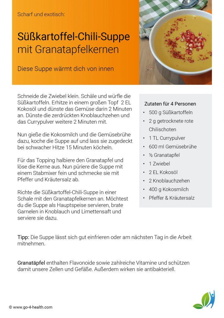 Suppenrezept zum Mitnehmen: Süßkartoffel-Chili-Suppe mit Granatapfel und Kokosmilch