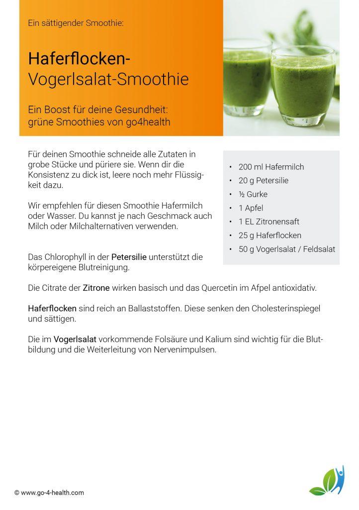 Rezept für einen Grünen Smoothie: mit Vogerlsalat / Feldsalat, Petersilie, Gurke, Apfel, Haferflocken