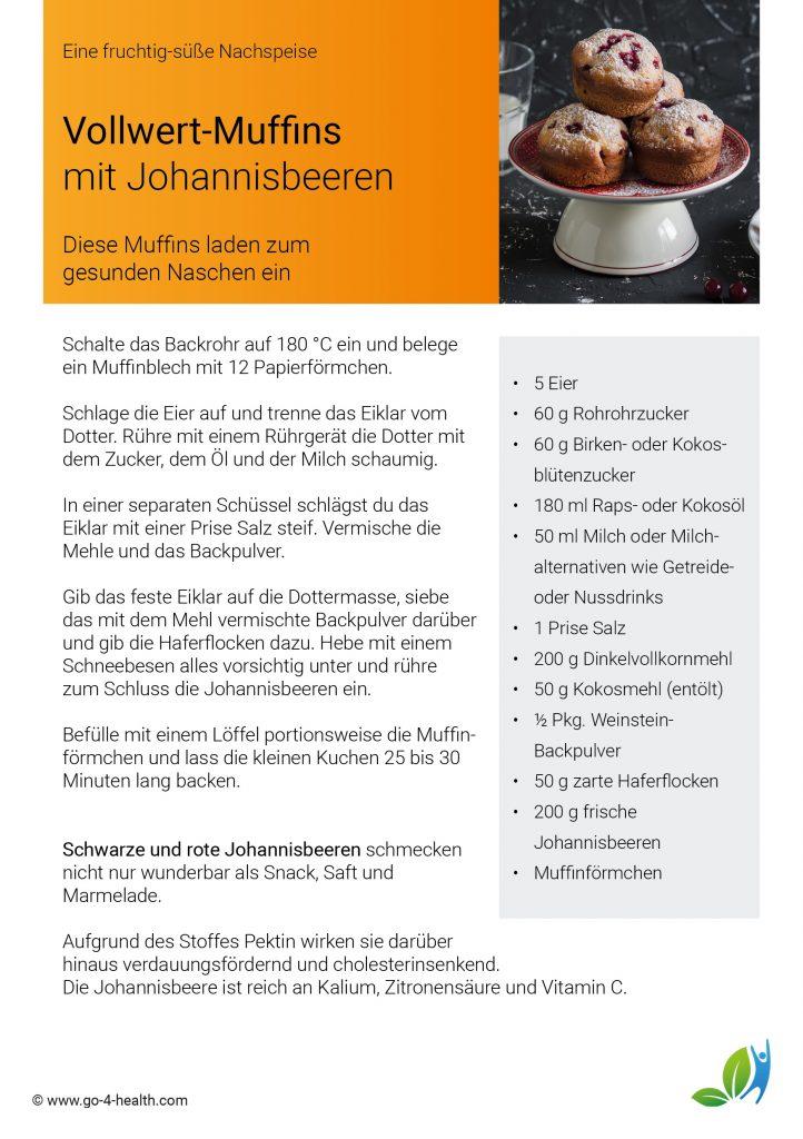 Vollwert-Muffins mit Johannisbeeren go4health Rezept
