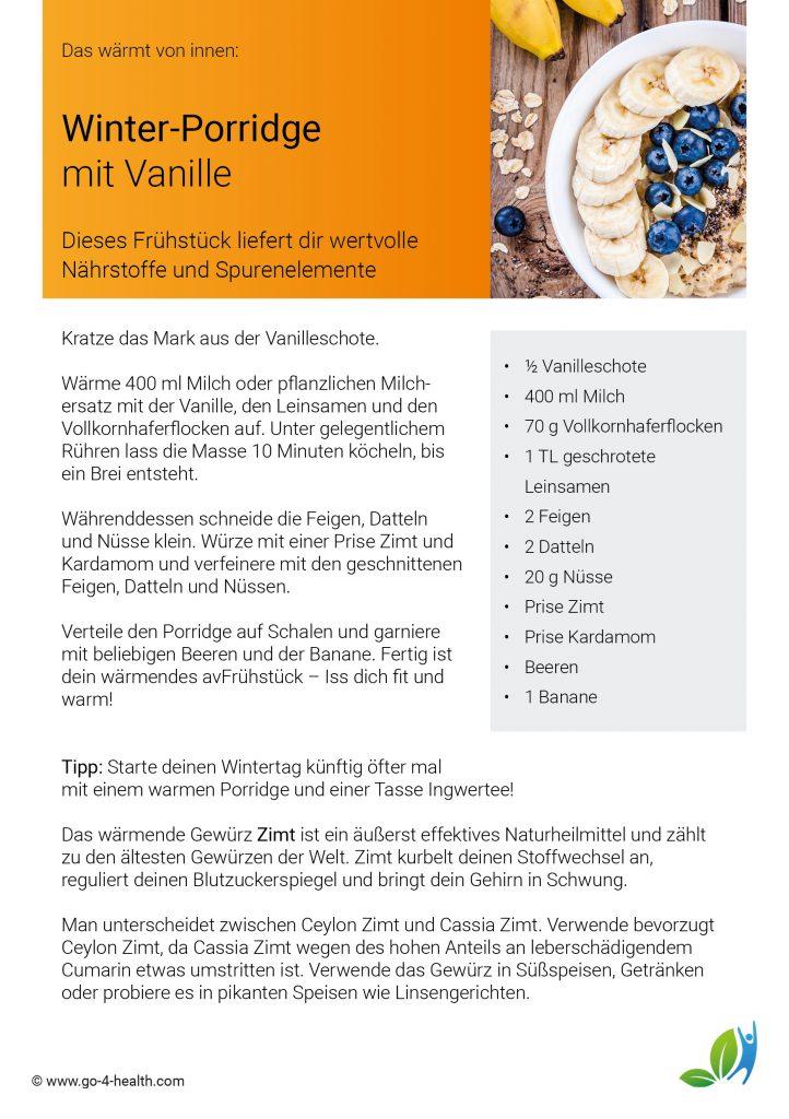 Gesundes Frühstück mit go4health: Rezept für ein Porridge mit Vanille und Leinsamen