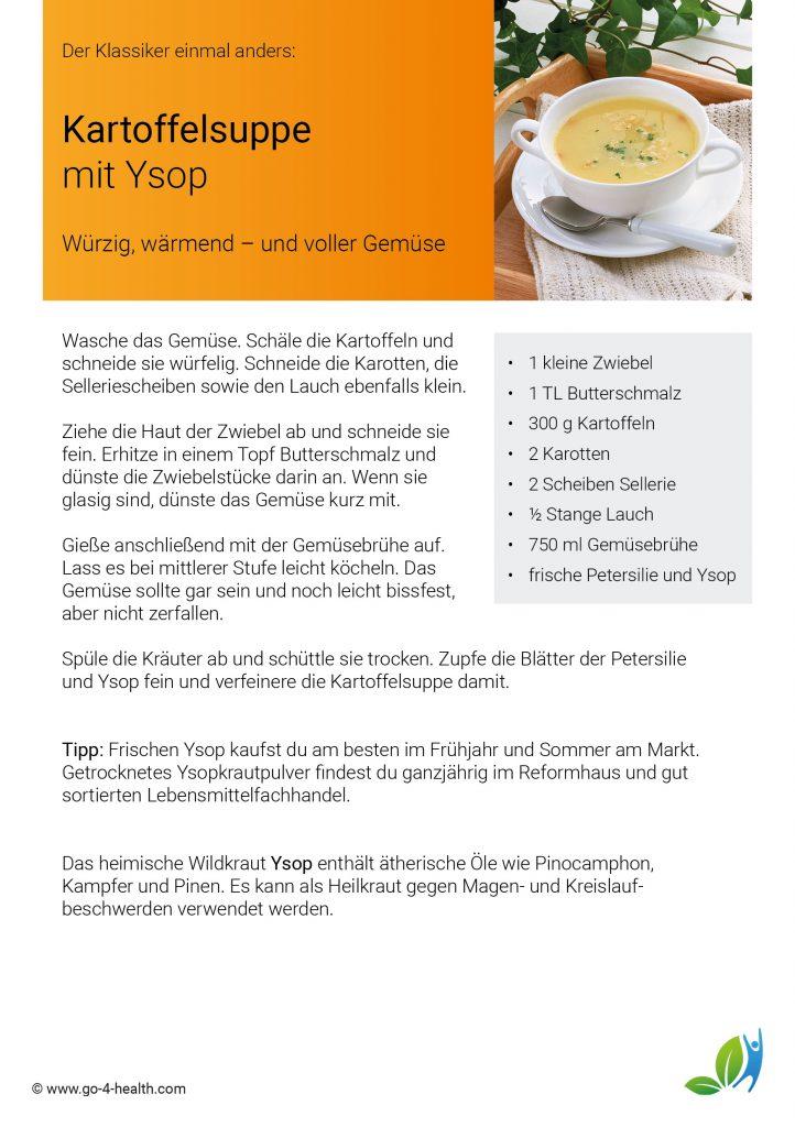 go4health Rezept für eine wärmende Kartoffelsuppe mit Ysop und Gemüse