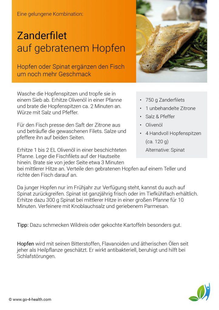 go4health Fischrezept: Zander auf Hopfenspitzen oder Spinat