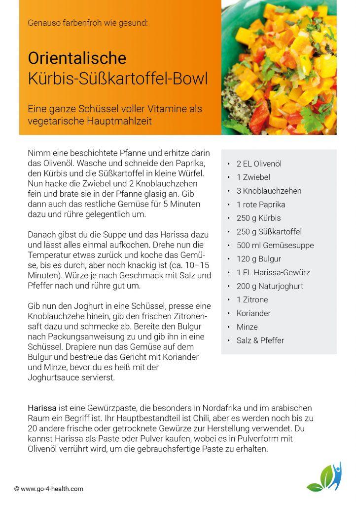 go4health Rezept für eine Bowl mit Kürbis, Süßkartoffel, Knoblauch, Zwiebel, Bulgur, Minze