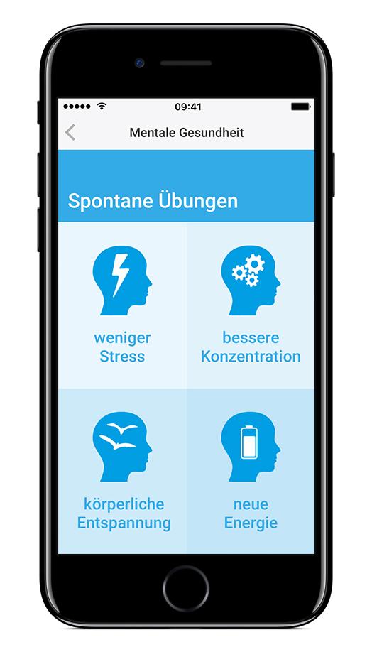 Mentale Entsapnnungsübungen mit der go4health App