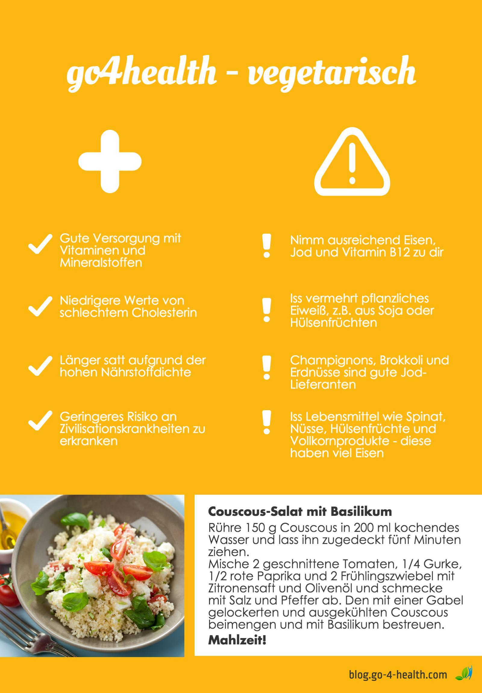go4health Infografik mit Tipps zu vegetarischer Kost