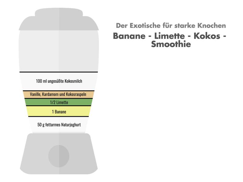 Exotischer Smoothie: Banane-Limette-Kokos