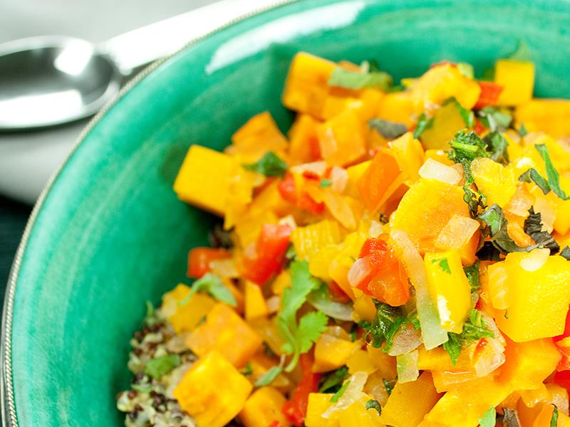 Schlemmerrezept: Orientalische Kürbis-Süßkartoffel-Bowl