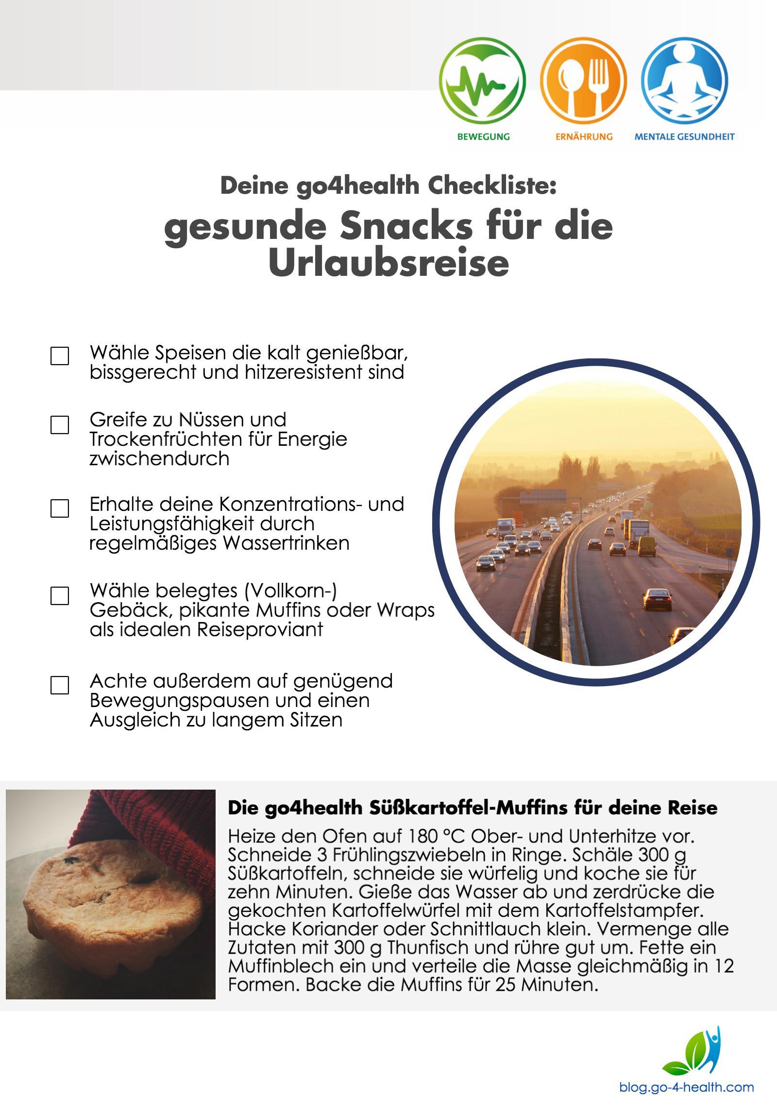 Die go4health Empfehlungen für gesunde Snacks für deine Urlaubsfahrt